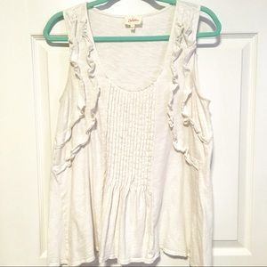 Deletta Anthropologie White Ruffle Loose Tank M
